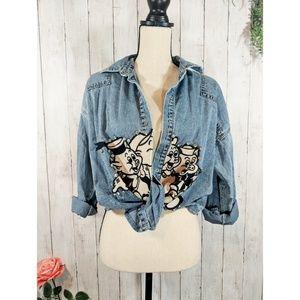 Vi Collection jean denim thin jacket, graphics